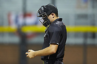 Home plate umpire Adam Clark during the Appalachian League game between the Kingsport Mets and the Burlington Royals at Burlington Athletic Stadium on July 27, 2018 in Burlington, North Carolina. The Mets defeated the Royals 8-0.  (Brian Westerholt/Four Seam Images)