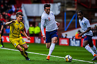 Leicester City's defender Ben Chilwell (3) for England U21's  takes on FK Partizan's midfielder Yuriy Vakulko (8) for Ukraine U21's during the International Euro U21 Qualification match between England U21 and Ukraine U21 at Bramall Lane, Sheffield, England on 27 March 2018. Photo by Stephen Buckley / PRiME Media Images.