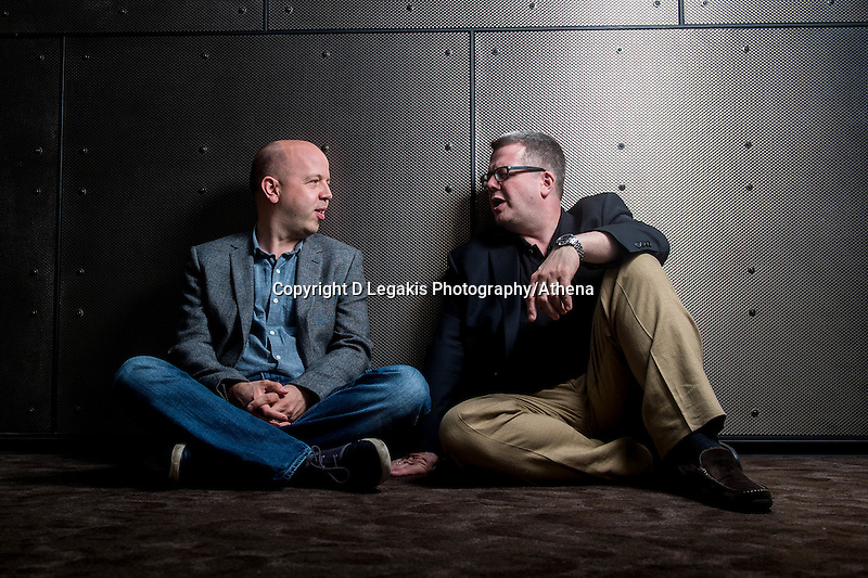 Tuesday 09 August 2016<br /> Pictured L-R: Brothers Huw and Paul Watkins<br /> Re:  Cellist and Conductors Huw and Paul Watkins at the Wales Millennium Centre in Cardiff Bay, Wales, UK.