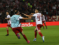 Olympiakos's Ranđelović celebrate his goal and second of his team during the UEFA Champions League playoff first leg soccer match between Olympiakos and Krasnodar at Karaiskaki stadium in Piraeus, Greece, on 21 August 2019