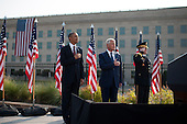 United States President Barack Obama (left), U.S. Secretary of Defense Chuck Hagel (center), and Chairman of the Joint Chiefs of Staff General Martin Dempsey stand during a remembrance ceremony for the 12th anniversary of the 9/11 terrorist attacks, at the Pentagon on September 11, 2013 in Arlington, Virginia. <br /> Credit: Kevin Dietsch / Pool via CNP