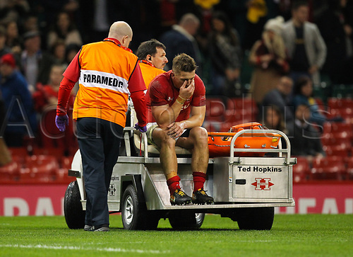 11th November 2017, Principality Stadium, Cardiff, Wales; Autumn International Series, Wales versus Australia; Jonathan Davies of Wales leaves the field on the medical cart after the final whistle
