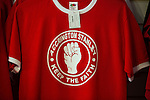 "© Joel Goodman - 07973 332324 . 18/05/2016 . Accrington , UK . Accrington Stanley "" Keep the faith "" shirts in the club shop . Accrington Stanley take on AFC Wimbledon at the Wham Stadium , in the 2nd leg of their League Two tie , the result from which will decide which team goes on to the final at Wembley . Photo credit : Joel Goodman"