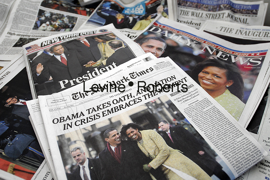 Headlines on newspapers in New York on Wednesday, January 21, 2009 cover the inauguration ceremonies of Barack Obama, the 44th President of the United States. (© Richard B. Levine)