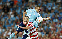 Wanderers Iacopo La Rocca (L) and Sydney FC Nikola Petkovic during their A-League match in Sydney, March 8, 2014. VIEWPRESS/Daniel Munoz EDITORIAL USE ONLY