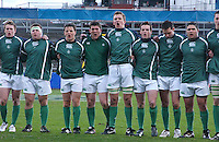 The Irish players sing 'Ireland's Call' before the Division A clash against Scotland in the U19 World Championship at Ravenhill.