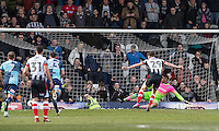 Calum Dyson of Grimsby Town scores a goal from the penalty spot past Goalkeeper Jamal Blackman of Wycombe Wanderers to make it 1 0 during the Sky Bet League 2 match between Grimsby Town and Wycombe Wanderers at Blundell Park, Cleethorpes, England on 4 March 2017. Photo by Andy Rowland / PRiME Media Images.