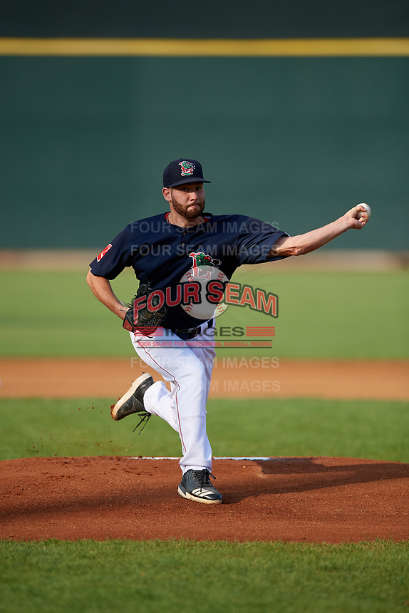 Lowell Spinners starting pitcher Brian Brown (59) delivers a pitch during a game against the Vermont Lake Monsters on August 25, 2018 at Edward A. LeLacheur Park in Lowell, Massachusetts.  Vermont defeated Lowell 4-3.  (Mike Janes/Four Seam Images)