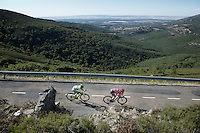 race leader Tom Dumoulin (NLD/Giant-Alpecin) rushing down towards the finish, followed closely by Rafal Majka (POL/Tinkoff-Saxo)<br /> <br /> stage 18: Roa - Riaza (204km)<br /> 2015 Vuelta &agrave; Espana
