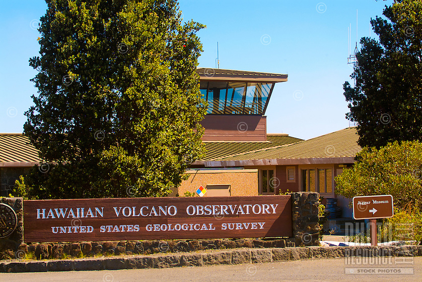 Hawaiian Volcano Observatory sign and building, Hawai'i Volcanoes National Park, Big Island.
