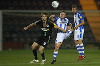 Alex Fisher of Yeovil Town and Tom Lapslie of Colchester United during Colchester United vs Yeovil Town, Sky Bet EFL League 2 Football at the JobServe Community Stadium on 2nd October 2018