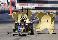 Nov 13, 2010; Pomona, CA, USA; NHRA top fuel dragster driver Tony Schumacher during qualifying for the Auto Club Finals at Auto Club Raceway at Pomona. Mandatory Credit: Mark J. Rebilas-