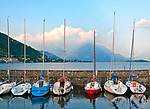 Gravedona, Italy marina with a view of Lake Como and the Italian Alps