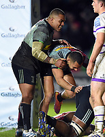 Kyle Sinckler of Harlequins celebrates a try from team-mate Semi Kunatani. Gallagher Premiership match, between Harlequins and Leicester Tigers on May 3, 2019 at the Twickenham Stoop in London, England. Photo by: Patrick Khachfe / JMP
