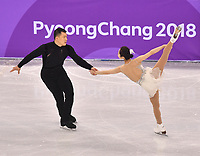 China's Xiao Yu and Hao Zhang give a figure skating pair performance in the Gangneung Ice Arena at the Winter Olympics in Pyeongchang, South Korea, 9 February 2018. Photo: Peter Kneffel/dpa /MediaPunch ***FOR USA ONLY***