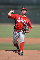 Cincinnati Reds pitcher Scott Brattvet (38) during an Instructional League game against the Texas Rangers on October 7, 2013 at Goodyear Training Complex in Goodyear, Arizona.  (Mike Janes/Four Seam Images)