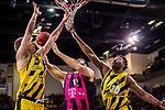 Donatas SABECKIS (#3 MHP Riesen Ludwigsburg) \Kelan MARTIN (#30 MHP Riesen Ludwigsburg) \Mitte: Martin BREUNIG (#12 Telekom Baskets Bonn) \ beim Spiel in der Basketball Bundesliga, MHP Riesen Ludwigsburg - Telekom Baskets Bonn.<br /> <br /> Foto &copy; PIX-Sportfotos *** Foto ist honorarpflichtig! *** Auf Anfrage in hoeherer Qualitaet/Aufloesung. Belegexemplar erbeten. Veroeffentlichung ausschliesslich fuer journalistisch-publizistische Zwecke. For editorial use only.