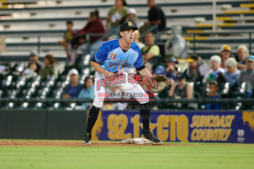 Bradenton Marauders first baseman Michael Gretler (10) during a Florida State League game against the Jupiter Hammerheads on April 20, 2019 at LECOM Park in Bradenton, Florida.  Bradenton defeated Jupiter 3-2.  (Mike Janes/Four Seam Images)