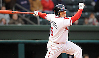 April 3, 2008: Manny Arambarris (16) of the Greenville Drive, Class A affiliate of the Boston Red Sox, hits during the season opener against the Kannapolis Intimidators at Fluor Field at the West End in Greenville, S.C. Photo by:  Tom Priddy/Four Seam Images
