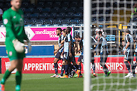 Celebrations as Anthony Stewart of Wycombe Wanderers scores his goal to make it 1-0 during the Sky Bet League 2 match between Wycombe Wanderers and York City at Adams Park, High Wycombe, England on 8 August 2015. Photo by Andy Rowland.