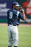 April 12, 2009:  Pitcher Brian Flores of the Charlotte Stone Crabs, Florida State League Class-A affiliate of the Tampa Bay Rays, during a game at Hammond Stadium in Fort Myers, FL.  Photo by:  Mike Janes/Four Seam Images