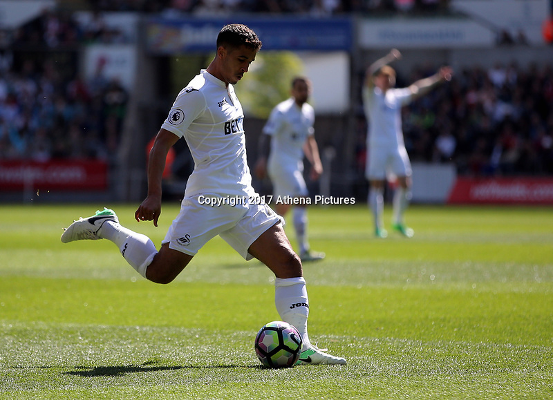 SWANSEA, WALES - APRIL 22: Kyle Naughton of Swansea City takes a shot during the Premier League match between Swansea City and Stoke City at The Liberty Stadium on April 22, 2017 in Swansea, Wales. (Photo by Athena Pictures/Getty Images)