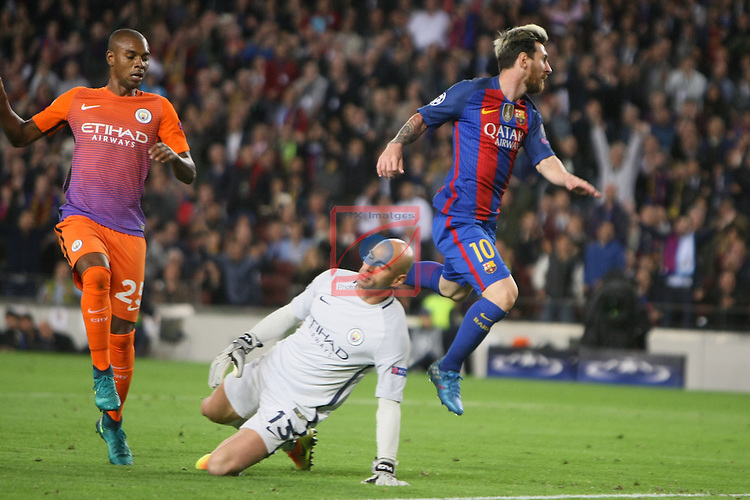 UEFA Champions League 2016/2017 - Matchday 3.<br /> FC Barcelona vs Manchester City FC: 4-0.<br /> Fernandinho, Willy Caballero &amp; Lionel Messi.