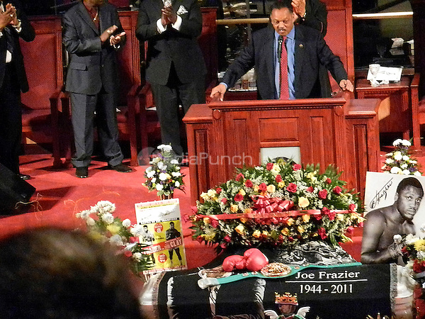 Pictured exclusively inside is Reverend Jesse Jackson at Joe Frazier's private funeral at the Enon Tabernacle Baptist Church, in Philadelphia, Pa on November 14, 2011  ***EXCLUSIVE***  © Star Shooter / MediaPunchInc