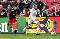 WASHINGTON, DC - MARCH 07: Edison Flores #10 of DC United chases after Rodolfo Pizzarro #10 of Inter Miami during a game between Inter Miami CF and D.C. United at Audi Field on March 07, 2020 in Washington, DC.