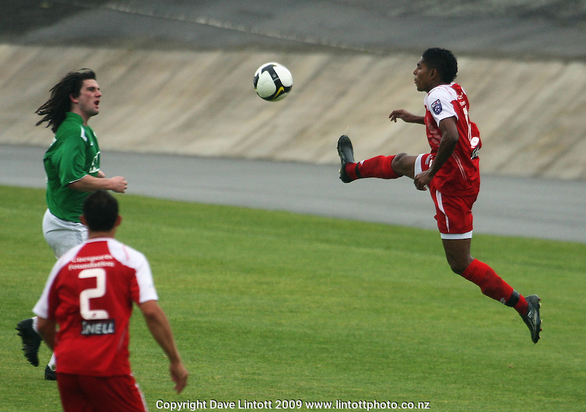 Waitakere's Roy Krishna leaps to control the ball..NZFC Championship soccer - Youngheart Manawatu v Waitakere United at Memorial Park, Palmerston North. Sunday, 15 November 2009. Photo: Dave Lintott/lintottphoto.co.nz