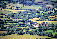 Wales, Llanthony Priory, from Offa's Dyke Footpath on the Black Mountains  Ridge, near Abergavenny.  Founded 1103.