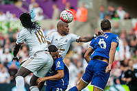 Andre Ayew of Swansea  tries to head the ball towards goal during the Barclays Premier League match between Swansea City and Everton played at the Liberty Stadium, Swansea  on September 19th 2015