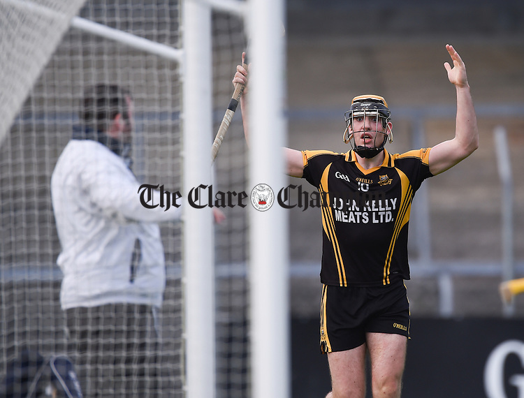 Niall Deasy of Ballyea questions an umpires decision during their quarter final against Crusheen  in Cusack Park. Photograph by John Kelly.