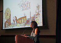 Spirit of State Awards ceremony. Phyliceia Brown speaking.<br />  (photo by Megan Bean / &copy; Mississippi State University)