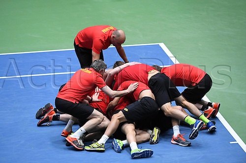 5th February 2017, Fraport Arena, Frankfurt, Germany; Davis Cup World Group 1st Round; Germany versus Belgium; Steve Darcis of Belgium wins his match against Alexander Zverev of Germany; Belgium won the match 4-1 to progress to the next round