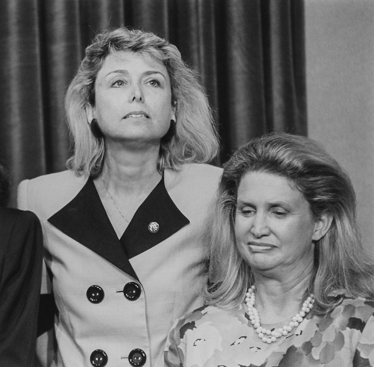 Rep. Lynn Schenk, D-Calif., and Rep. Carolyn Maloney, D-N.Y., in August 1993. (Photo by Maureen Keating/CQ Roll Call)