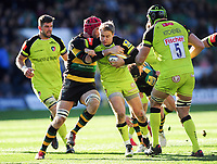 Matthew Tait of Leicester Tigers takes on the Northampton Saints defence. Aviva Premiership match, between Northampton Saints and Leicester Tigers on March 25, 2017 at Franklin's Gardens in Northampton, England. Photo by: Patrick Khachfe / JMP