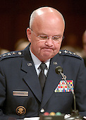 Washington, D.C. - May 18, 2006 --  United States Air Force General Michael Hayden reads his notes as he testifies before the United States Senate Intelligence Committee on his nomination as Director of the Central Intelligence Agency (CIA) in Washington, D.C. on May 18, 2006. <br /> Credit: Ron Sachs / CNP