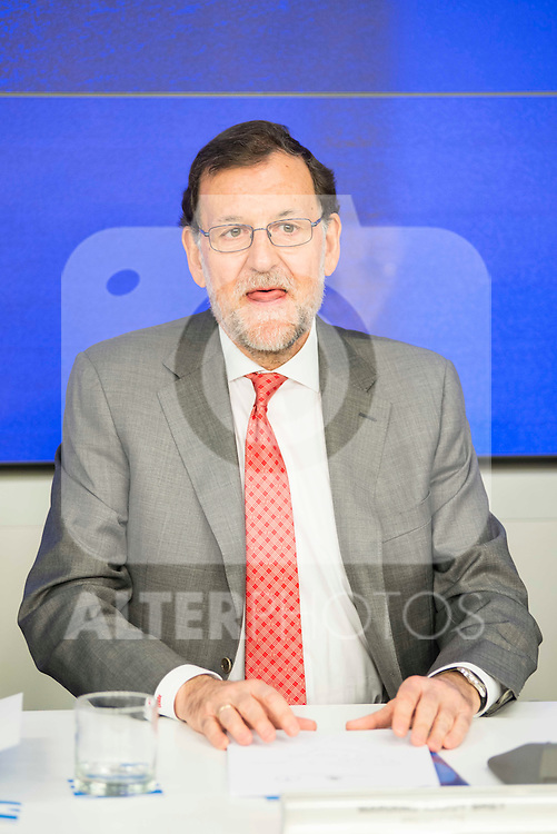 Mariano Rajoy during the meeting with the national executive committee of Partido Popular at Genova in Madrid. May 03, 2016. (ALTERPHOTOS/Borja B.Hojas)