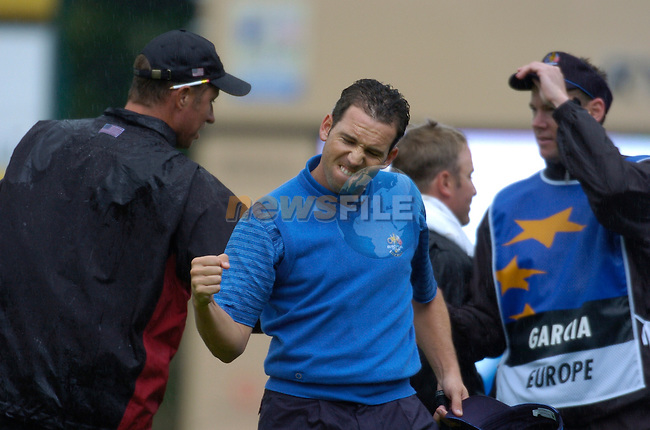 Ryder Cup K Club Straffin Co Kildare..European Ryder Cup Team player Sergio Garcia celebrates on the 17th green during the morning fourball session of the second day of the 2006 Ryder Cup at the K Club in Straffan, County Kildare, in the Republic of Ireland, 23 September, 2006..Photo: Barry Cronin/ Newsfile.<br />