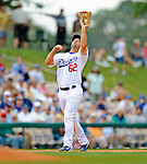 12 March 2008: Los Angeles Dodgers' infielder Blake DeWitt catches an infield fly during a Spring Training game against the Washington Nationals at Holman Stadium, in Vero Beach, Florida. The Nationals defeated the Dodgers 10-4 at the historic Dodgertown ballpark. 2008 marks the final season of Spring Training at Dodgertown for the Dodgers, as the team will move to new training facilities in Arizona starting in 2009 after 60 years in Florida...Mandatory Photo Credit: Ed Wolfstein Photo