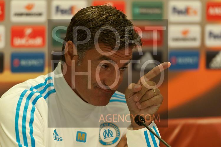 Voetbal: 16-9-2015,UEFA, Fc Groningen vs Olympique de Marseille,Pressconference,Michel coach of Olympique de Marseille