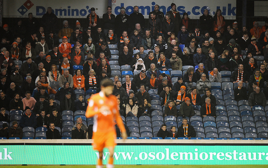 Blackpool fans at Fratton Park<br /> <br /> Photographer Ashley Western/CameraSport<br /> <br /> The EFL Sky Bet League Two - Portsmouth v Blackpool  - Tuesday 14th February 2017 - Fratton Park - Portsmouth<br /> <br /> World Copyright &copy; 2017 CameraSport. All rights reserved. 43 Linden Ave. Countesthorpe. Leicester. England. LE8 5PG - Tel: +44 (0) 116 277 4147 - admin@camerasport.com - www.camerasport.com