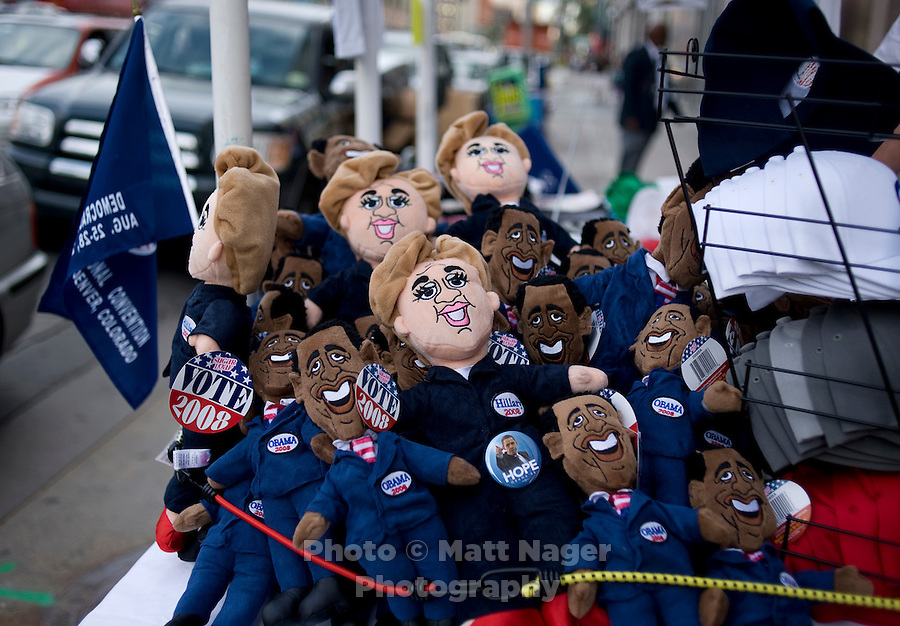 Dolls of Barack Obama and Hillary Clinton are strapped into a street stand during the Democratic National Convention, Wednesday, August 27, 2008. The convention has made its impact on Denver citizens who normally don't see such political hysteria on a normal basis. ..PHOTOS/  MATT NAGER
