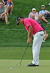Cromwell, CT-23 JUNE 23 2017-062317MK2601 Patrick Reed watches his birdie putt at the 18th green Friday afternoon at the 2017 Travelers Championship at the TPC River Highlands in Cromwell.  Reed sunk the putt to take a share of 2nd place with a round of 66 .  Michael Kabelka / Republican-American