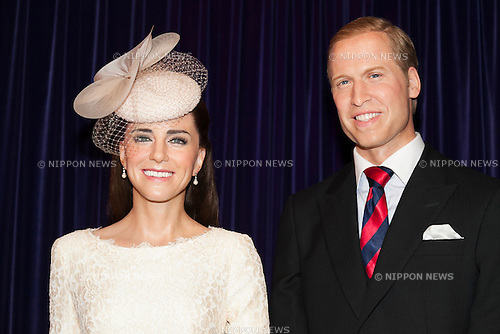 (L to R) Wax figures of HRH The Duchess of Cambridge and HRH The Duke of Cambridge on display at the Madame Tussauds Tokyo wax museum in Odaiba, Tokyo, June 15, 2015. The world famous British wax museum ''Madame Tussauds'' opened its 14th permanent branch in Tokyo in 2013 and exhibits international and local celebrities, sports players and politicians. New additions to the collection include wax figures of the Japanese figure skater Yuzuru Hanyu and the actor Benedict Cumberbatch. The wax figure of Benedict Cumberbatch will be exhibited until June 30th. (Photo by Rodrigo Reyes Marin/AFLO)