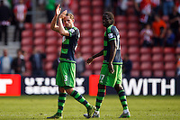Gylfi Sigurdsson applauds fans after the Barclays Premier League match between Southampton v Swansea City played at St Mary's Stadium, Southampton