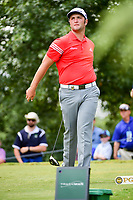 Jon Rahm (ESP) nearly drops his driver after a fan yells during his swing on the 16th tee box Sunday's final round of the PGA Championship at the Quail Hollow Club in Charlotte, North Carolina. 8/13/2017.<br /> Picture: Golffile | Ken Murray<br /> <br /> <br /> All photo usage must carry mandatory copyright credit (&copy; Golffile | Ken Murray)
