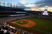 10 JULY 2010: A general view of Coors Field during a sunset during a regular season Major League Baseball game between the Colorado Rockies and the San Diego Padres at Coors Field in Denver, Colorado. The Rockies beat the Padres 4-2.  *****For Editorial Use Only*****