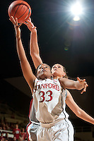 STANFORD, CA-JANUARY 18, 2012 - Amber Orrange makes two in the second half against the visiting Washington State Cougars. The Cardinal defeated WSU 75-41.